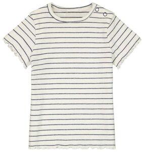 HEMA Baby-T-Shirt, Gerippt Eierschalenfarben