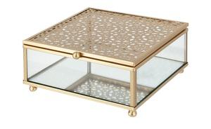 Aufbewahrungsbox - gold - Metall, Glas - 13,3 cm - 6 cm - Dekoration