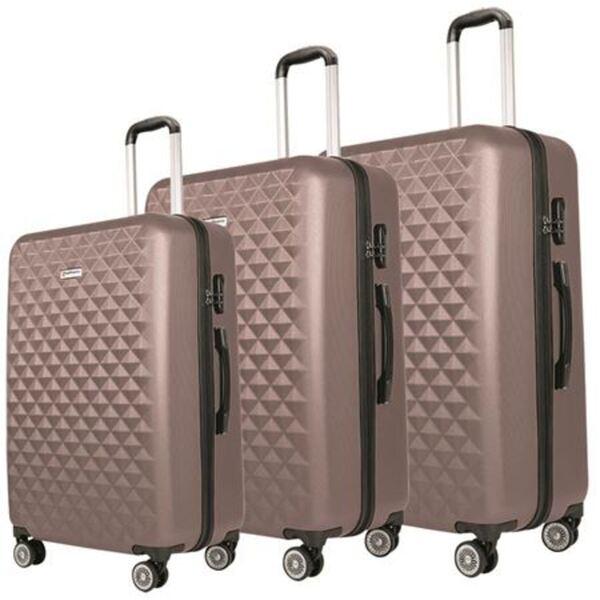 Hartschalen-Kofferset 3-teilig Altrosa Metallic