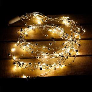 Perlenlichterdraht mit 8 Strängen und 80 Mikro-LEDs Warmweiß