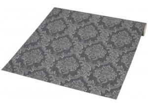 Papiertapete grau silber mit Ornament dunkelgrau