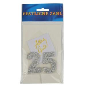Grußkärtchen Festliche Zahl 25 Glimmer silber 7x5cm