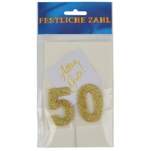 Grußkärtchen Festliche Zahl 50 Glimmer gold 7x5cm