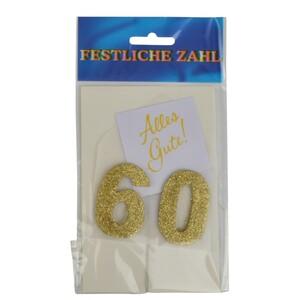Grußkärtchen Festliche Zahl 60 Glimmer gold 7x5cm