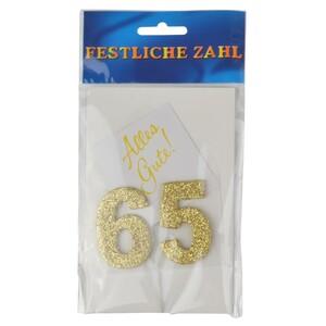 Grußkärtchen Festliche Zahl 65 Glimmer gold 7x5cm