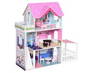 HOMCOM Puppenhaus mit 3 Etagen
