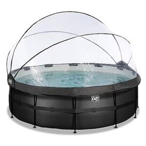 EXIT Black Leather Pool ø427x122cm mit Abdeckung und Sandfilter- und Wärmepumpe - schwarz