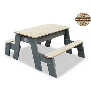 EXIT Aksent Sand-, Wasser- und Picknicktisch, 2 Sitzflächen inkl. Sonnenschirm und Gartenwerkzeug
