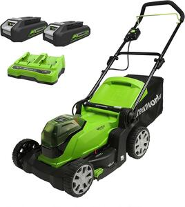 Greenworks 2x24V Akku Rasenmäher 41cm mit 2x2Ah Batterie und Doppel-Ladegerät G24X2LM41K2x