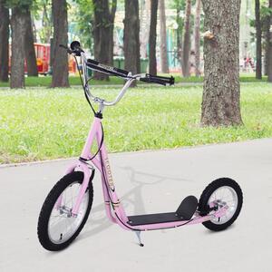 HOMCOM Tretroller Scooter (16/12 Zoll) Cityroller Kinder Mädchenroller pink