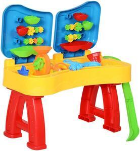 HOMCOM Kinder Sandspielzeug, Sandkastentisch mit 31-tlg. Zubehör, Spieltisch, Strandspielzeug, ab 3 Jahren, PP, 73 x 35 x 70 cm