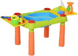 HOMCOM Kinder Sandspielzeug, Sandkastentisch mit 16-tlg. Zubehör, Spieltisch, Strandspielzeug, ab 3 Jahren, PP, 99,5 x 54,5 x 48 cm