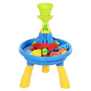 HOMCOM Kinder Spieltisch, Sandkastentisch mit 21-tlg. Zubehör, Wasserpark, Lernspielzeug, Baby Spielzeug ab 3 Jahren, PP, Bunt, 46 x 46 x 72 cm