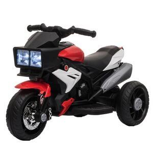 HOMCOM Elektrofahrzeug Kindermotorrad Kinderfahrzeug mit Musik und Beleuchtung Elektro-Dreirad mit Akku 3-8 Jahre Stahl Rot+Weiß 86x42x52 cm