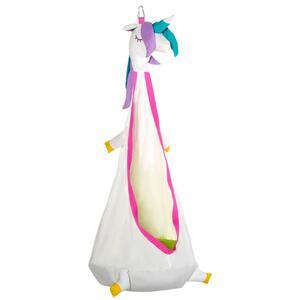 Outsunny Hängehöhle Kinder Hängesessel Kinderhängesitz mit Sitzkissen für 3-8 Jahre War-Design 100 % Baumwolle Weiß+Rosa Ø70 x 150H cm