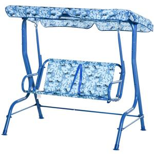 Outsunny Kinderschaukel Spielplatzschaukel Gartenschaukel für 3-8 Jahre Metall Blau 110L x 70B x 110H cm