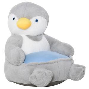 HOMCOM Plüsch-Kindersessel Plüschtier Kinderstuhl Sofa Pinguin für Spielzimmer Kinderzimmer für 18-36 Monaten Hellgrau+Blau 59 x 50 x 59 cm