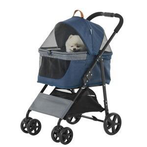 PawHut 2-in-1 Hundebuggy Transporttasche Katzenbuggy mit Universal Rad abnehmbar Abdeckung Oxford Dunkelblau+Schwarz 76 x 51 x 101 cm