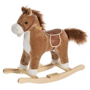 HOMCOM Kinder Schaukelpferd Baby Schaukeltier Pferd mit Tiergeräusche Spielzeug Haltegriffe für 36-72 Monate Plüsch Braun 65 x 32,5 x 61 cm