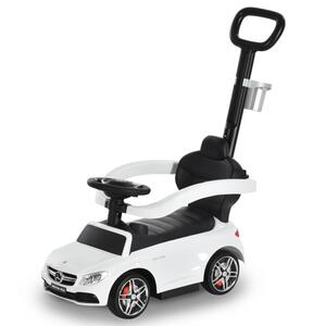 HOMCOM Rutschauto Rutscher Kinderauto von Mercedes Benz  Kinderfahrzeug Schub- und Haltestange mit Rückenlehne / Schutzbügel, Lauflernhilfe für Babys 12-36 Monate (Weiß)