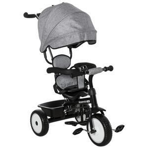 HOMCOM 2 in 1 Kinderdreirad Dreirad Kinder Fahrrad Rad Kinderwagen Schubstange Sonnendach Sicherheitsgurt 6-60 Monate Grau+Schwarz 78 x 47 x 99 cm