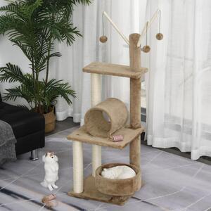 PawHut Kratzbaum Katzenbaum Kletterbaum für Katzen Mehrstufiges Multiaktivitätszentrum mit Katzenrohr Katzenstock Weichkissen E1 Spanplatte Braun 40 x 40 x 121 cm