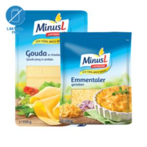 MinusL Emmentaler gerieben, Gouda Scheiben, Käseaufschnitt