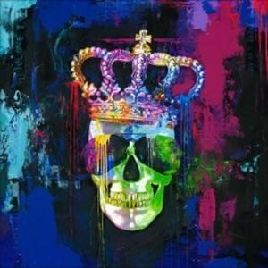 PRO ART Handpainting Bild COLOURFUL SKULL 100 x 100 cm Leinwand mehrfarbig