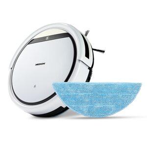 MEDION Saugroboter E32 SW, Reinigung von Staub, Haaren & Pollen, Saugen & Wischen, Programmierfunktion, 120 Min. Laufzeit & automatische Aufladung