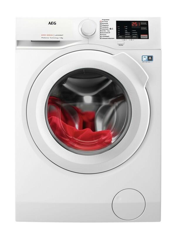 AEG LAVAMAT L6FBA5680 Waschmaschine (Frontlader, freistehend, 8 kg, D, 1.600 U/Min, Serie 6000, Mengenautomatik, Nachlegefunktion)