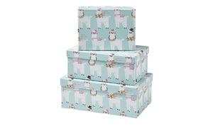 Aufbewahrungsboxen, 3er-Set   Alpaka - blau - Papier - 28,5 cm - 19 cm - 11 cm - Aufbewahrung