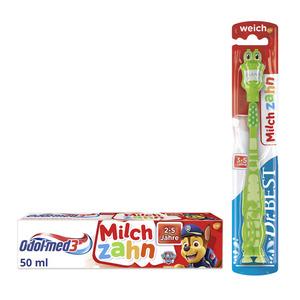 Odol med3 2er-Set aus Odol-med3 Milchzahn Zahnpasta und Dr.BEST Milchzahn Zahnbürste