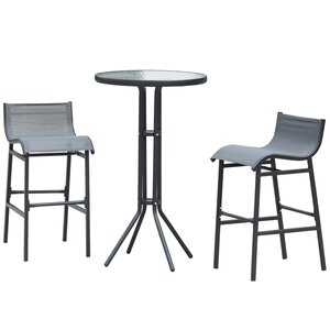 Outsunny Bartisch mit 2 Stühlen grau/schwarz