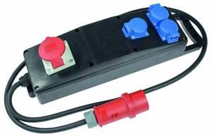 Vollgummi-Steckdosenleiste S3 H07RN-F 5G2,5, 2m, 400V, 3 Schutzkontaktsteckdosen 230V, 16A, 1 CEE-Steckdose 400V