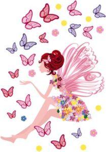 Wandsticker Fee und Schmetterlinge, 67 x 47 cm rosa