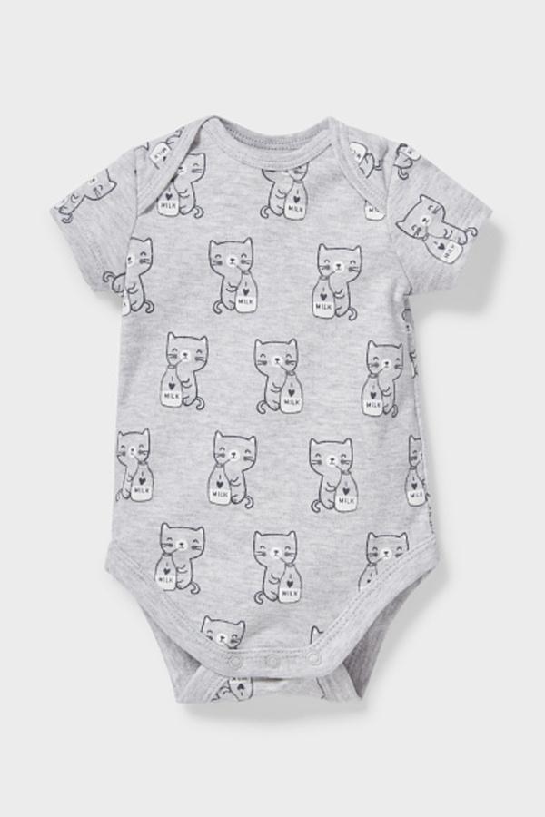 C&A Baby-Body-Bio-Baumwolle, Grau, Größe: 56