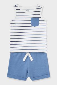 C&A Baby-Outfit-Bio-Baumwolle-2 teilig, Blau, Größe: 62
