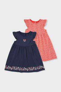 C&A Multipack 2er-Baby-Kleid-Bio-Baumwolle, Rot, Größe: 56