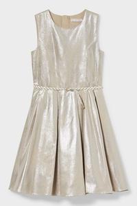 C&A Kleid-Velourslederimitat-glänzend, Metallisch, Größe: 104