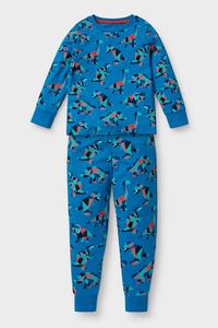 C&A Dino-Pyjama-Bio-Baumwolle-2 teilig, Blau, Größe: 92