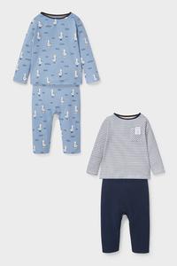 C&A Baby-Pyjama-Bio-Baumwolle-2er Pack, Blau, Größe: 62