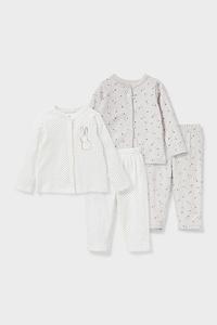 C&A Baby-Pyjama-Bio-Baumwolle-2er Pack, Weiß, Größe: 62