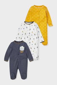 C&A Multipack 3er-Baby-Schlafanzug-Bio-Baumwolle, Gelb, Größe: 68