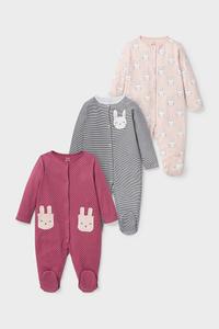 C&A Multipack 3er-Baby-Schlafanzug-Bio-Baumwolle, Rot, Größe: 86