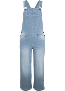 3/4 Stretch-Jeans-Latzhose, Wide, gestreift
