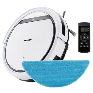 MEDION Saugroboter mit Wischfunktion MD 18501, zur Reinigung von Staub, Haaren & Pollen, mit Programmierfunktion, 90 Min. Laufzeit & automatischer Aufladung