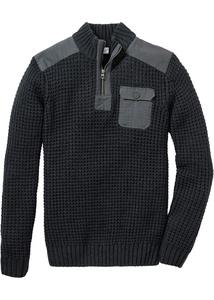 Troyer Pullover mit Web-Besatz