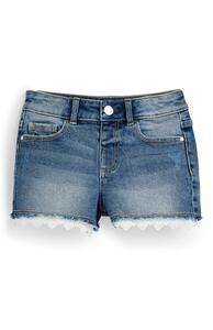Blaue Jeansshorts mit Häkelsaum (kleine Mädchen)