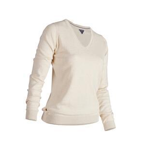 Golf Pullover V-Ausschnitt MW500 Damen ecru (Naturfarben)
