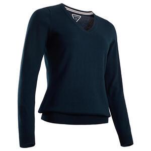 Golf Pullover V-Ausschnitt MW500 Damen marineblau